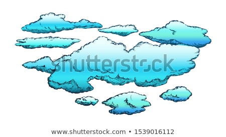 Fluffy Flying Clouds And Overcast Retro Vector Stock photo © pikepicture