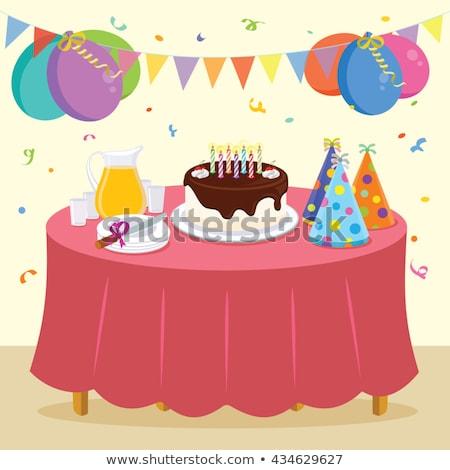 Voedsel dranken tabel verjaardagsfeest partij levensmiddelen feestelijk Stockfoto © dolgachov