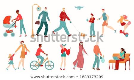 Emberek sétál utcák város vektor üzletember Stock fotó © robuart