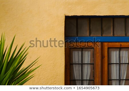 Resumen estuco pared patio puerta santorini Foto stock © feverpitch
