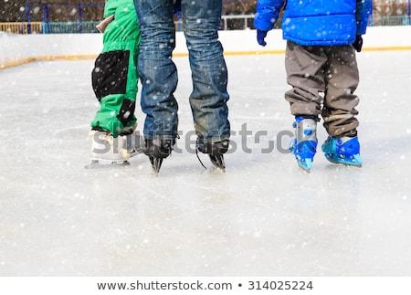 Apa játszik korcsolyázás pálya tél játék Stock fotó © Lopolo