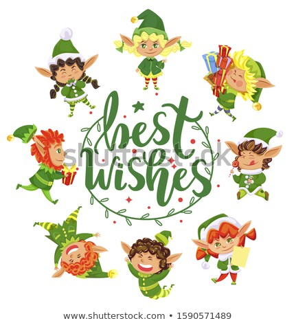Best Wishes Cute Christmas Elf Girl Greeting Card Stock photo © robuart