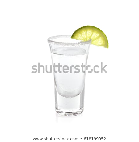 Vetro shot argento tequila calce fetta Foto d'archivio © DenisMArt