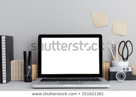 Stylish home studio workspace with laptop and camera Stock photo © karandaev