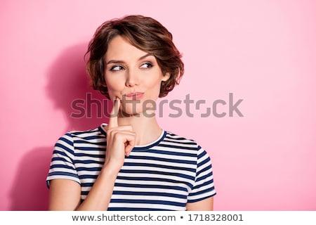 Portret dobrze wygląda kobieta podbródek zamyślony Zdjęcia stock © vkstudio