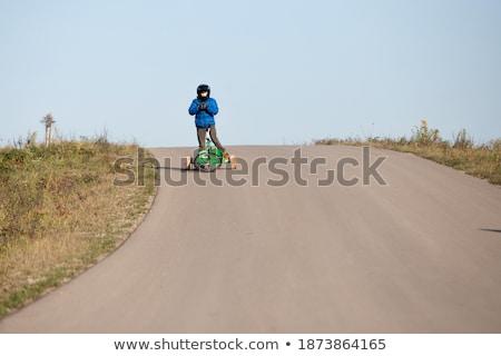 Isolado branco criança bicicleta diversão bicicleta Foto stock © kitch