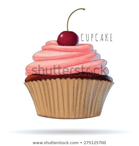 Cupcake with candied cherry Stock photo © aladin66