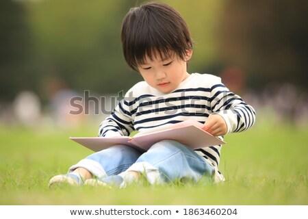 alegre · pequeño · nino · nino · lectura · libro - foto stock © photography33