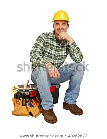 Rzemieślnik posiedzenia przybornik człowiek pracy polu Zdjęcia stock © photography33