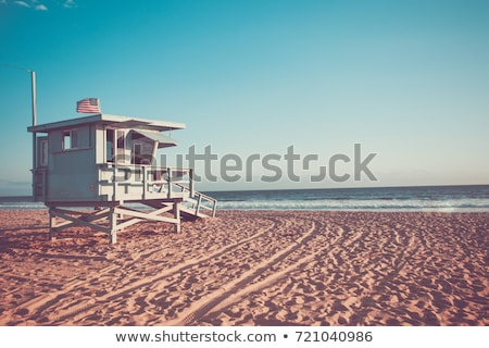 спасатель пляж мышечный человека Sexy синий Сток-фото © curaphotography