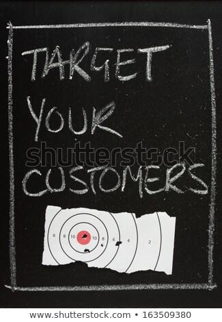 target · clienti · manoscritto · bianco · gesso · lavagna - foto d'archivio © bbbar
