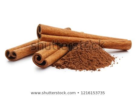 Fahéj közelkép fa asztal eszik édes édesség Stock fotó © oksix