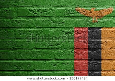 bandera · Zambia · pared · de · ladrillo · pintado · grunge · edificio - foto stock © creisinger