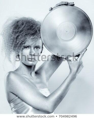 csinos · nő · gramofon · gyönyörű · nő · fehér · lány · hangszóró - stock fotó © acidgrey