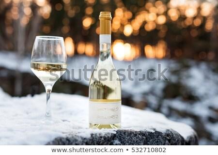 şişe · beyaz · şarap · kış · kar · altın · hediye - stok fotoğraf © compuinfoto