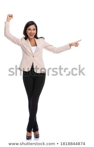 üzletasszony bemutat mutat levegő kéz felirat Stock fotó © wavebreak_media