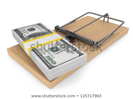 egér · csapda · pénz · papír · kéz · fa - stock fotó © carenas1