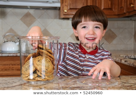 Stock fotó: Mother And Child With Cookie Jar