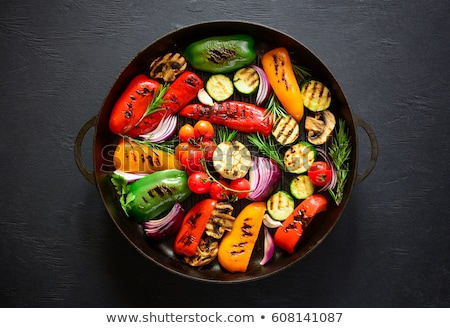 Koken groenten schotel bereid zwarte voedsel Stockfoto © macsim