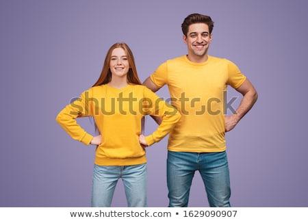 пару · человека · женщину · джинсов · белый - Сток-фото © stepstock