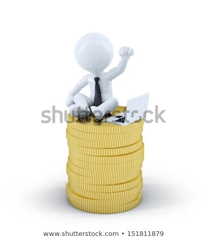 3D · fehér · emberek · gazdaság · fehér · üzletember · dolgozik - stock fotó © kirill_m
