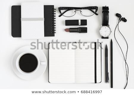 pen · tijdschrift · leder · business · achtergrond · Blauw - stockfoto © adam121