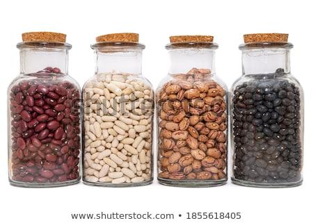 Foto stock: Rim · feijões · jarra · comida · vermelho · armazenar