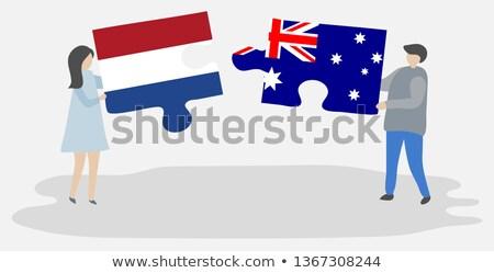 Stock fotó: Hollandia · Ausztrália · zászlók · puzzle · izolált · fehér