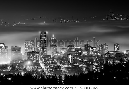 Ködös belváros városkép panoráma Oregon épületek Stock fotó © davidgn