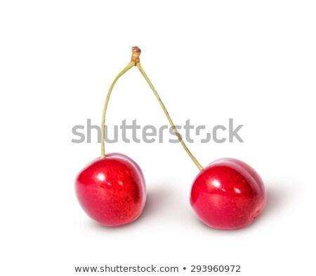 iki · kırmızı · sulu · tatlı · kiraz · yalıtılmış - stok fotoğraf © cipariss