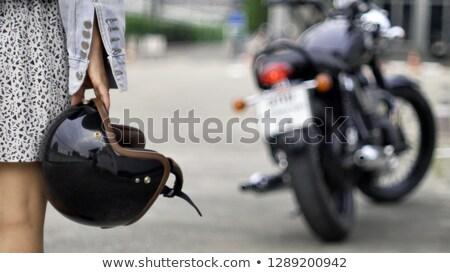 Сток-фото: довольно · мотоцикл · улице · портрет · город