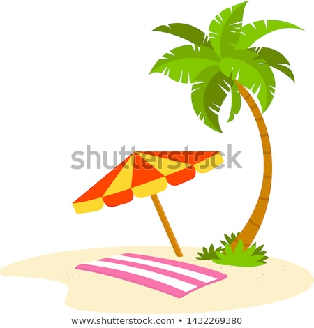 guarda-chuva · dourado · areia · praia · laranja - foto stock © mikko
