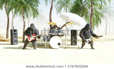 Обезьяны барабаны пляж иллюстрация воды лес Сток-фото © adrenalina