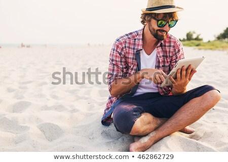 счастливым человека борода Hat рубашку Сток-фото © deandrobot