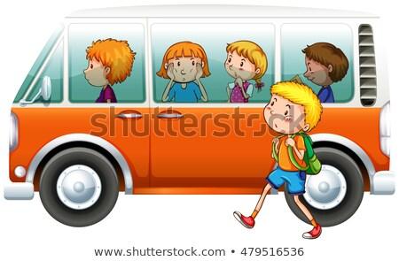 Boy walking pass camper van Stock photo © bluering
