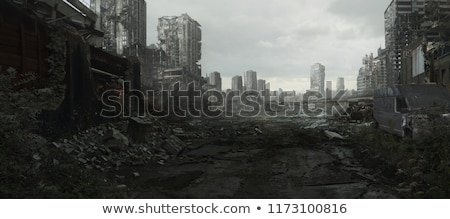 Ruinas destruido ciudad pared iglesia azul Foto stock © pedrosala