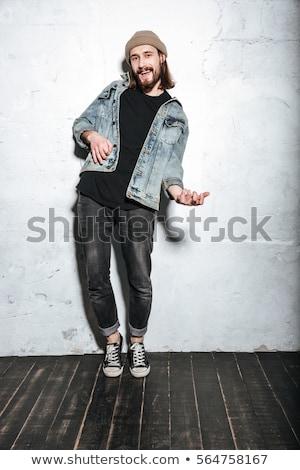 Hombre camisa jaula jugando guitarra imagen Foto stock © deandrobot