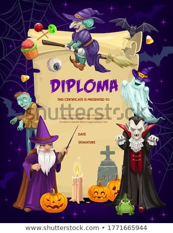 Halloween bat pergamin ilustracja papieru strony Zdjęcia stock © adrenalina