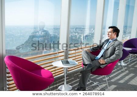 délkelet · ázsiai · üzletember · ül · egészalakos · vonzó - stock fotó © szefei