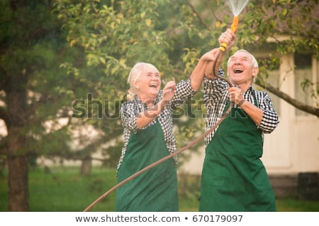 Woman spraying men with garden hose Stock photo © IS2