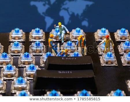 Billentyűzet javítás kicsi világ báb játék Stock fotó © compuinfoto