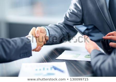 escritório · homem · mulher · aperto · de · mãos · negócio · computador - foto stock © alphaspirit