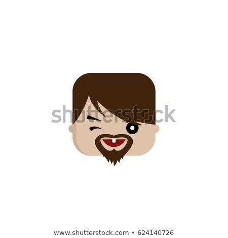 vierkante · vorm · grappig · cartoon · hoofd · vector - stockfoto © vector1st