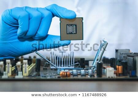 Számítógép mérnök tart chip fehér technológia Stock fotó © wavebreak_media