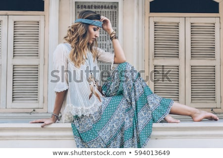 Blue clothes headband girl Stock photo © toyotoyo
