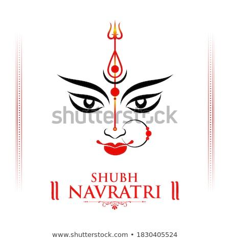 Goddess Durga Face in Happy Durga Puja background Stock photo © vectomart