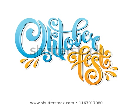 Oktoberfest Banner Illustration with Typography Lettering and Fresh Beer on Vintage Wood Background. Stock photo © articular