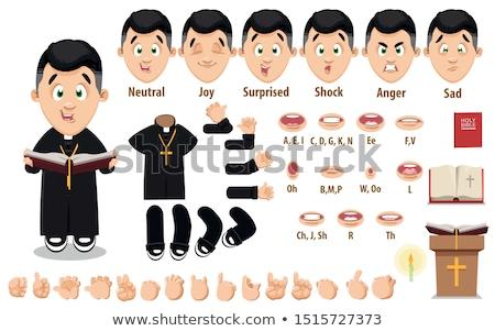 cartoon · katholiek · priester · kruis · schilderij · zwarte - stockfoto © cthoman