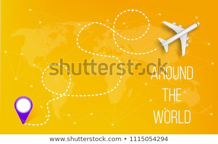 Flying plane on the background of the world map with a path from the departure point. Vector Stock photo © m_pavlov