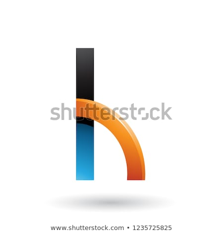 Blue and Orange Letter H with a Glossy Quarter Circle Vector Ill Stock photo © cidepix